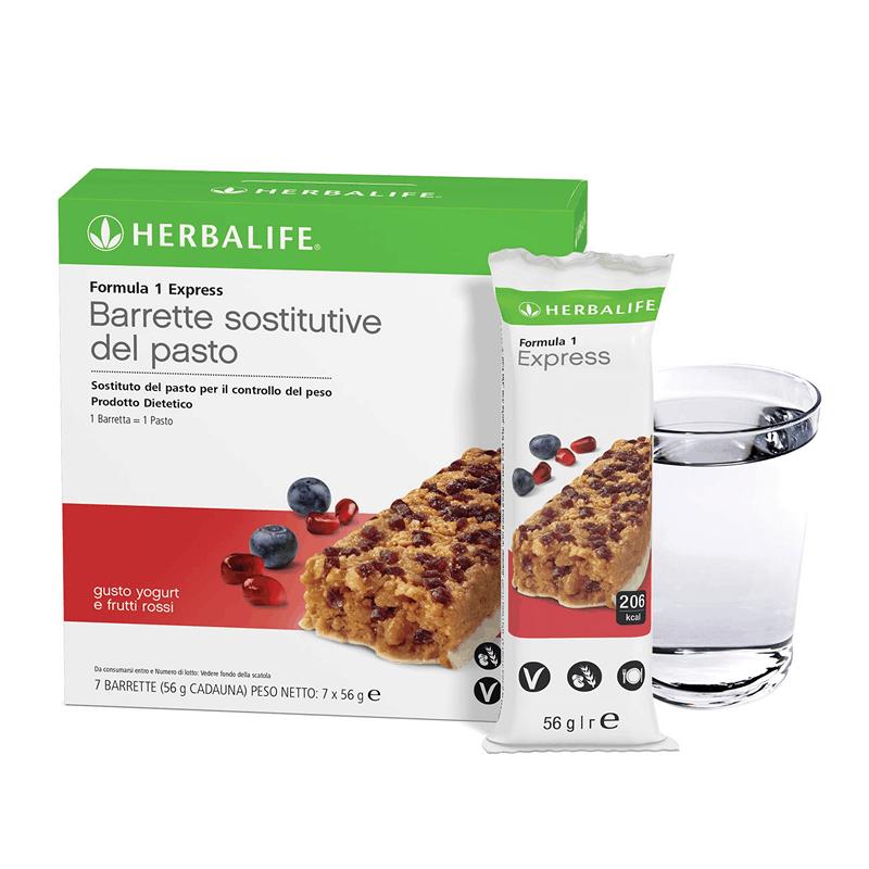 Herbalife Formula 1 Sostituto del Pasto Barrette Proteiche Gusto Yogurt e Frutti Rossi